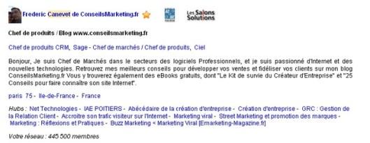 profil conseilsMarketing Viadeo