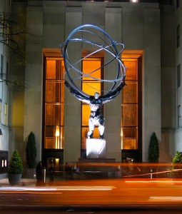 Statue of Atlas, that became the cover illustration for Atlas Shrugged by Ayn Rand.