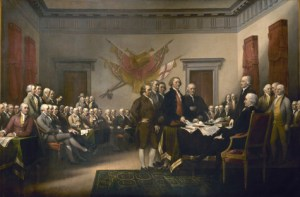 The first Independence Day - signing of the Declaration, by John Trumbull