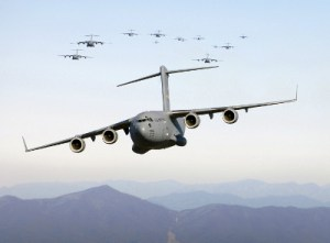 A C-17 Globemaster III on a low-level training mission over the Blue Ridge Mountains