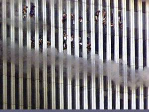 Office workers jump from the World Trade Center towers, September 11, 2001.