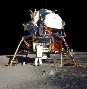 Apollo XI on the moon. Ayn Rand praised the achievement but not the basic concept