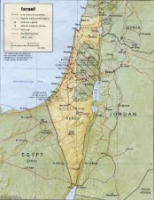 "Israel, its neighbors, and ""Palestine"" (shaded)"