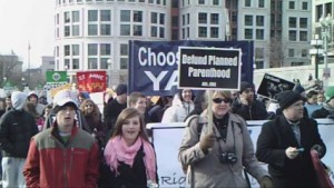 Children and adults marching in the annual Pro-Life spectacle, the March for Life