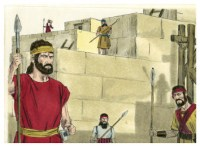 Nehemiah oversees rebuilding of the Wall of Jerusalem. Drawing by Jim Padgett. Credit: Distant Shores Media/Sweet Publishing, CC BY-SA 3.0 Unported License