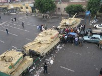 Martial law iln Egypt - tanks set up a roadblock outside the downtown Tahrir area. Photo: Amr Farouk Mohammed, CC BY-SA 2.0 Generic License.
