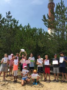 After learning about the plight of beach nesting birds, the kids got creative by drawing signs to be posted near nesting and feeding sites.