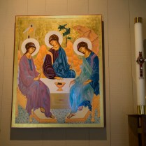 Our copy of the Rublev icon welcomes you.