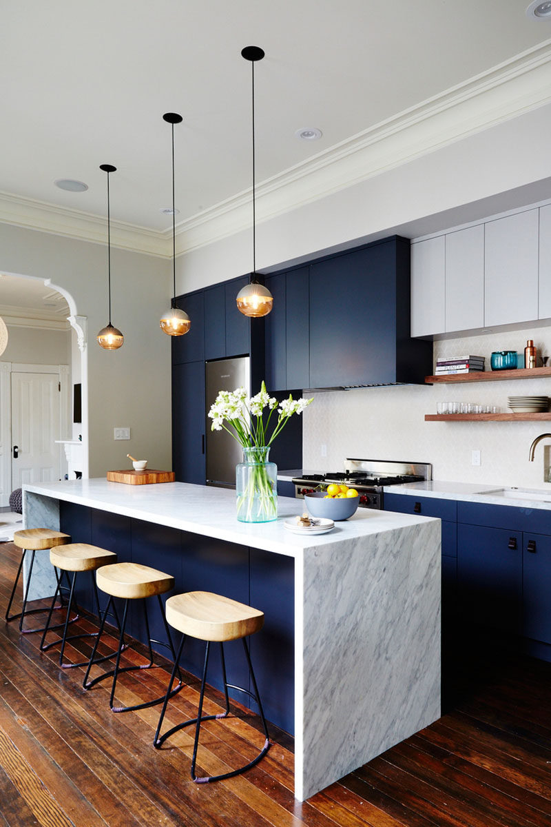 kitchen design idea deep blue kitchens blue cabinets kitchen Kitchen Design Ideas Deep Blue Kitchens The elements of dark blue are brightened