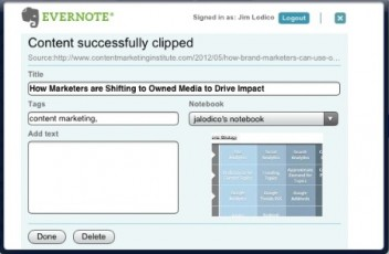 Evernote clips content, CMI