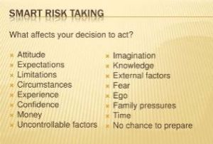 a checklist of items to consider when evaluating risks to be managed