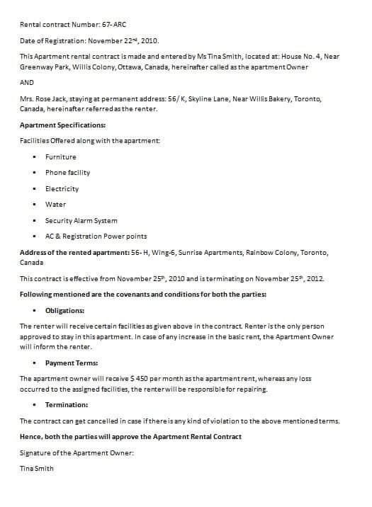 Tenant Contract Template Datariouruguay