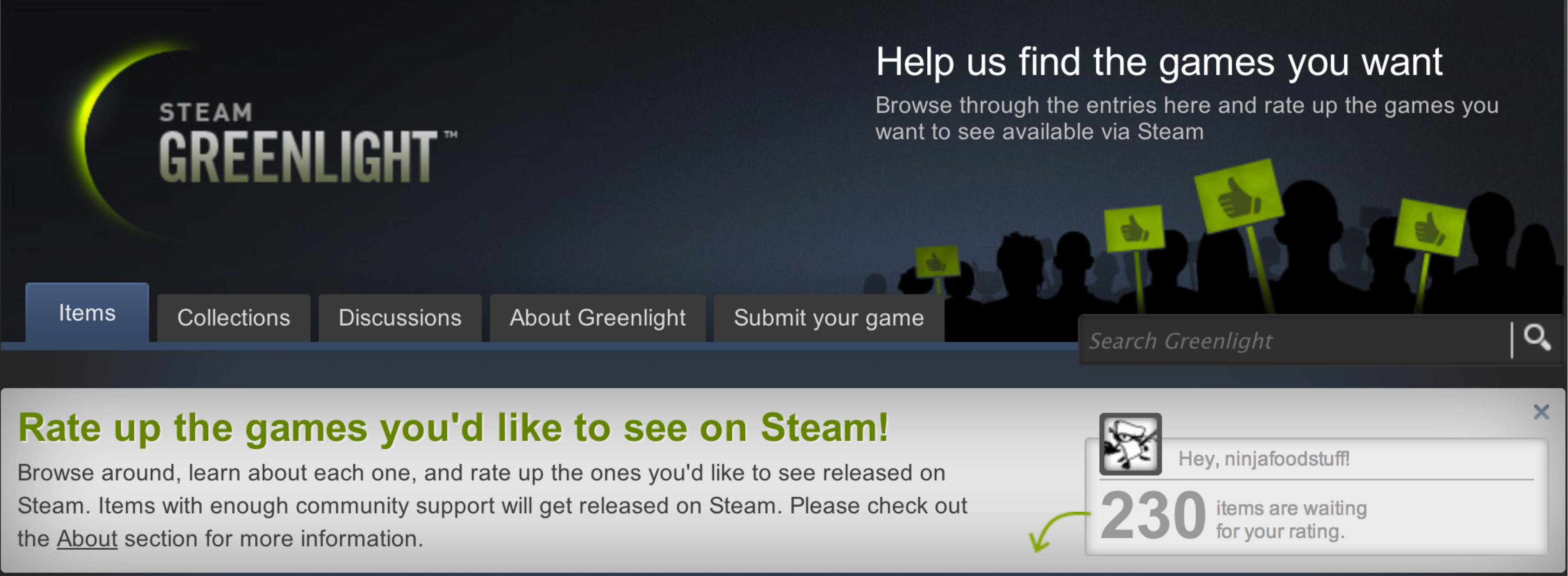 Steam's Greenlight lets you vote for games
