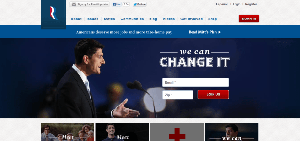 mitt romney election homepage optimization