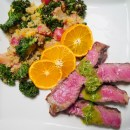 Sliced Ribeye Steaks with Roasted Radish and Orange Quinoa