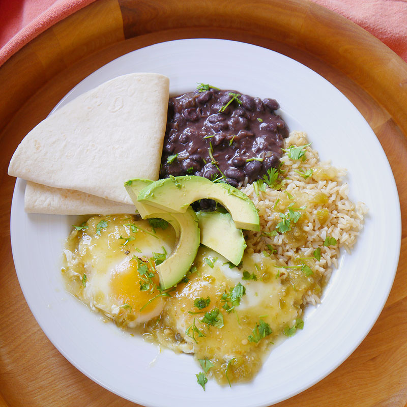 Salsa Verde Poached Eggs with Black Beans and Rice - Cook Better Than ...