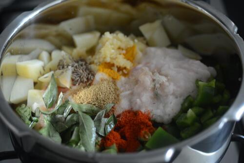 aloo beans recipe, how to make pressure cooker aloo beans (opos recipe)