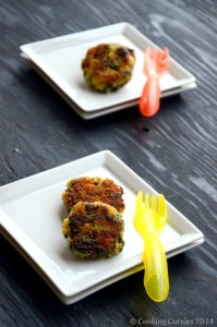 Little People Food–Spinach, Rice and Corn Patties