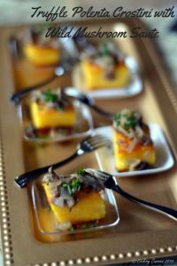 Truffle Polenta Crostini with Wild Mushroom Sauté
