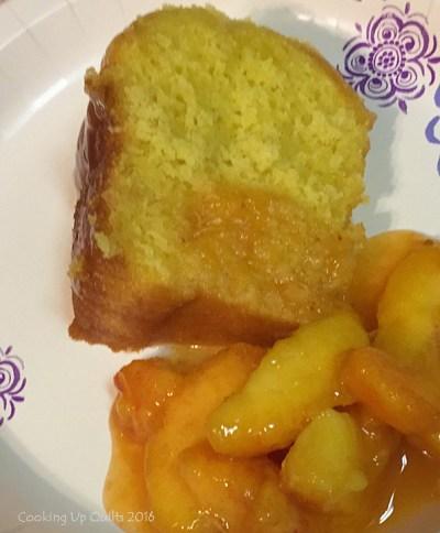 This is a keeper! Lemon pound cake with fresh Georgia peaches - yum!