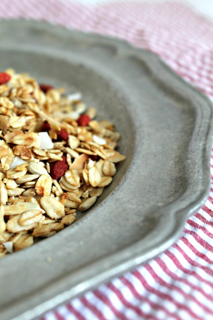 goji berry and coconut granola plate