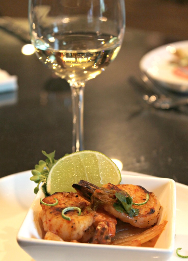 Paired Spicy Kimchi Shrimp with Cilantro and Cabbage, paired with Saint M Riesling