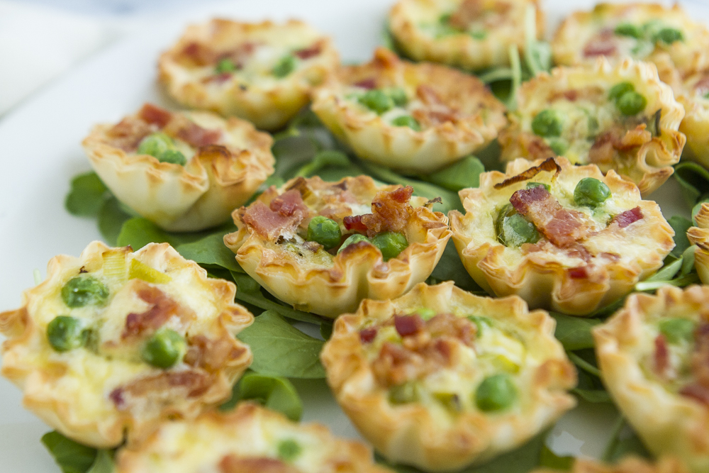 Bacon Leek Pea Springtime Mini Phyllo Quiches