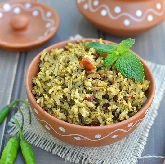 Brown Rice Green Pulao (Brown Rice & Mint Pilaf)