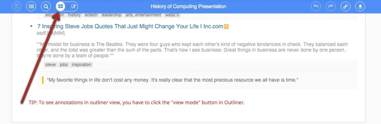 The view mode button in Diigo's outliner view helps you see the annotations you made with this social bookmarking tool.