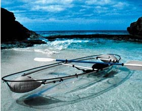 Transparent canoe.