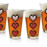 Power-Up Heart Pint Glass 4-Pack lets the world know you need a refill