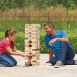 Towering Toppling Timbers Game brings a life sized Jenga to the family