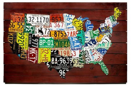 wall art us map made from state license plates