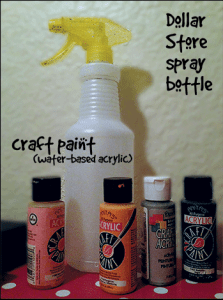 Dollar store spray bottle and water-based acrylic craft paint.