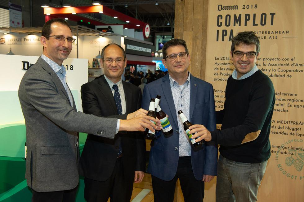 David Marquès, maestro cervecero de Damm; Jaume Alemany, director de Marketing, Exportación y Comunicación de Damm; Carles Abella, agrónomo de Damm, y Ferran Centelles, sommelier.