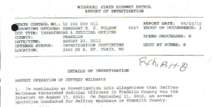Police Report from Henry Folsom, the shooter of Jeffrey Weinhaus