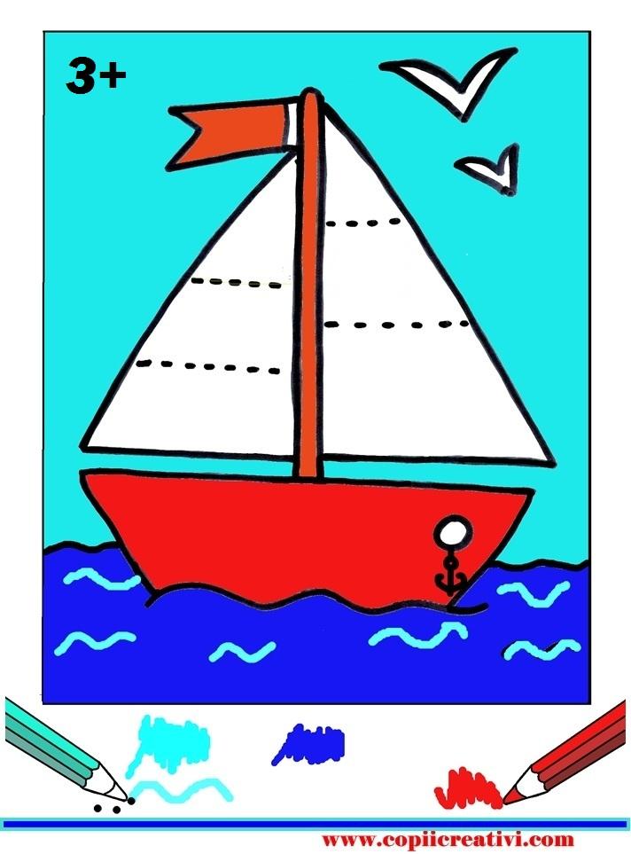 Desen pentru colorat -  cu o barcuta