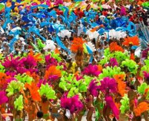 People in costume Carnival mas band  Trinidad Carnival Port of Spain Island of Trinidad Trinidad and Tobago