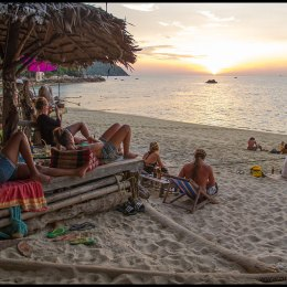 Watching sunset in Boom Boom Bar at Sunset Beach in Koh Lipe, Thailand.