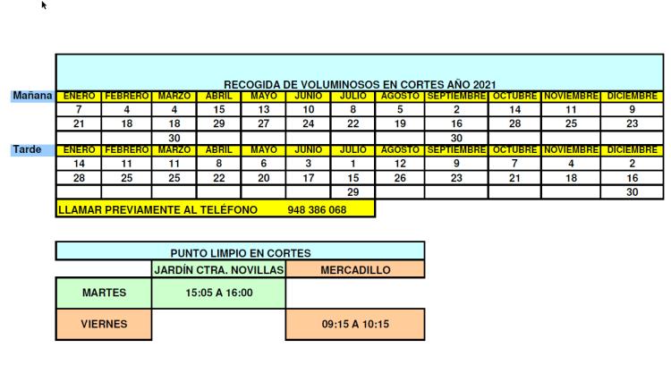 Voluminosos calendario Cortes 2021