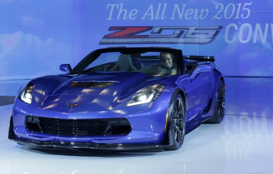 The 2015 Chevrolet Corvette Z06 Convertible is unveiled Tuesday, April 15, 2014 at a special event in New York City. The all-new, 2015 Corvette Z06 offers at least 625 hp, 0-60 acceleration in under 3.5 seconds, true aerodynamic downforce, and available performance hardware including carbon-ceramic brakes and Michelin Pilot Sport Cup tires. (Chevrolet News Photo)