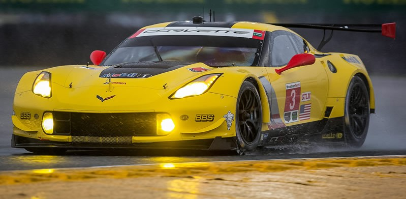 The #3 Chevrolet Corvette Racing C7.R, driven by Jan Magnussen runs 8th fastest in the GTLM class Thursday, January 28, 2016 during qualifying for Saturday's Rolex 24 At Daytona WeatherTech SportsCar Championship at Daytona International Speedway in Daytona Beach, Florida. Magnussen will team with drivers Antonio Garcia and Mike Rockenfeller for the endurance race. (Photo by Richard Prince for Chevy Racing)
