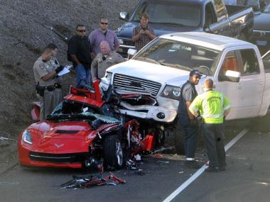 Costa Mesa firefighters and California Highway Patrol investigate major accident southbound 55 freeway, just north of Wilson Street on Thursday evening. Costa Mesa firefighters had to extricate the driver of the car. He was transported to local trauma center. RICHARD KOEHLER , CONTRIBUTING PHOTOGRAPHER
