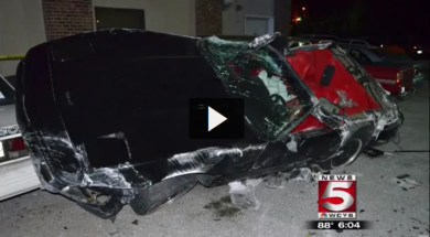 Bristol, Tennessee Man Launches a 1995 Corvette Through the Air Crushing Seven Cars Before Coming to a Halt