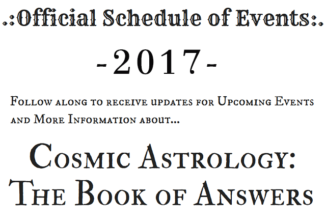 Cosmic Astrology Schedule of Events