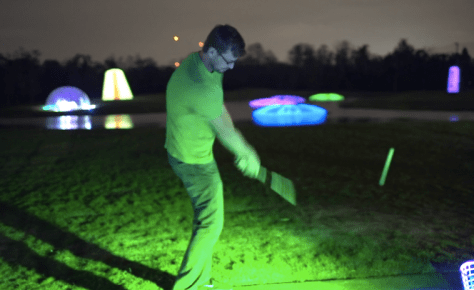 PLAYING golf with targets at night