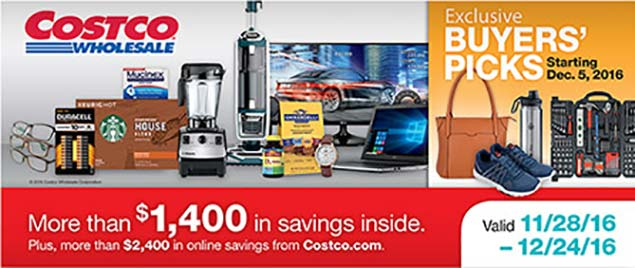December 2016 Costco Coupon Book Cover
