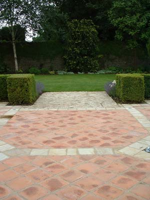 Terracotta and stone paving