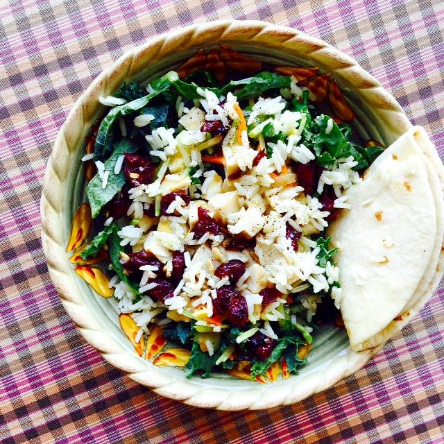 cranberry kale turkey rice salad