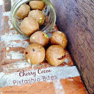 Paleo and Vegan Cocoa Cherry Pistachio Energy Bites